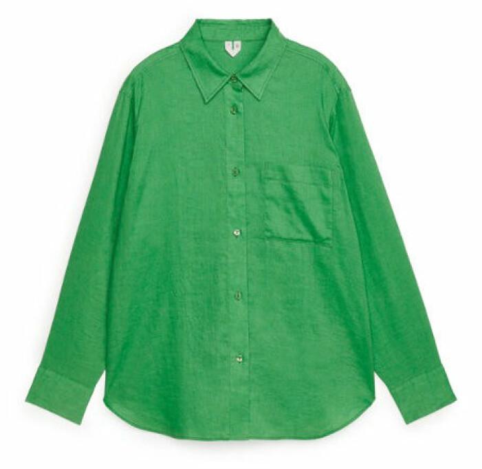 grön linneskjorta dam
