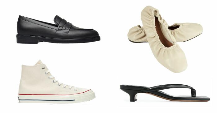 plock med skor. Loafers från Flattered, vita platta sandaler från Na-kd, vita Converse och svarta sandaletter från Arket.