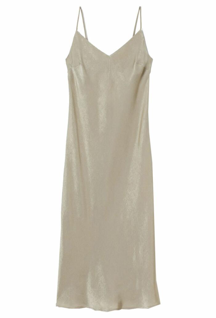 olivgrön slipklänning i satin från H&M