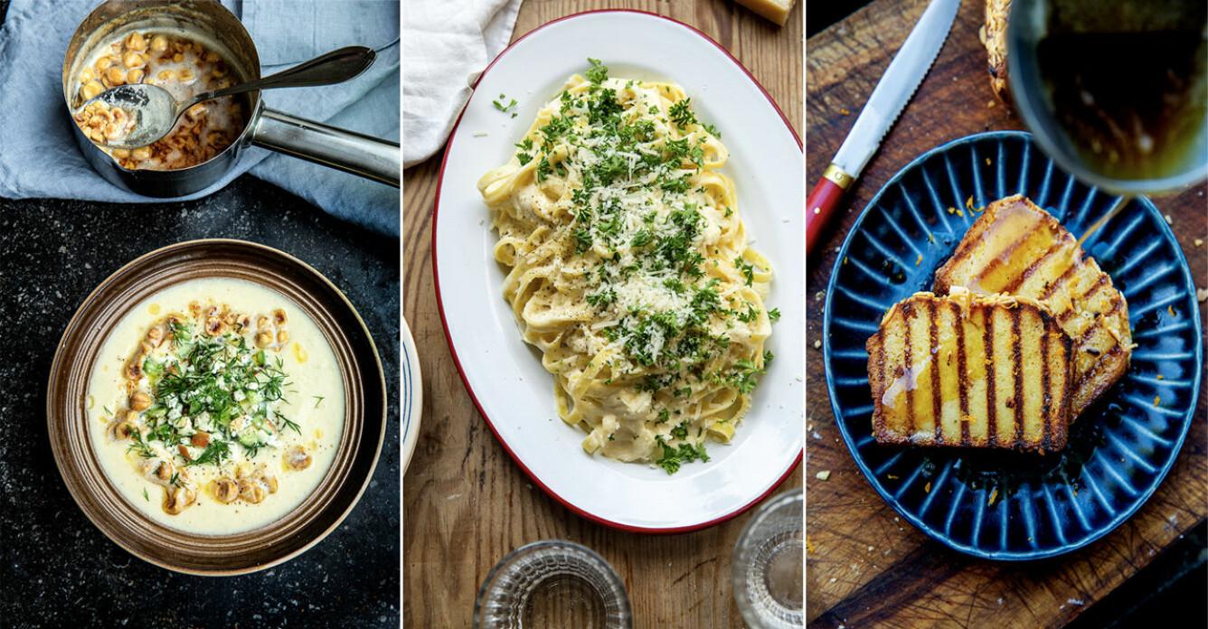 Smakrik italiensk meny med brynt smör
