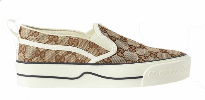 Sneakers med monogram i beige signerat Gucci!