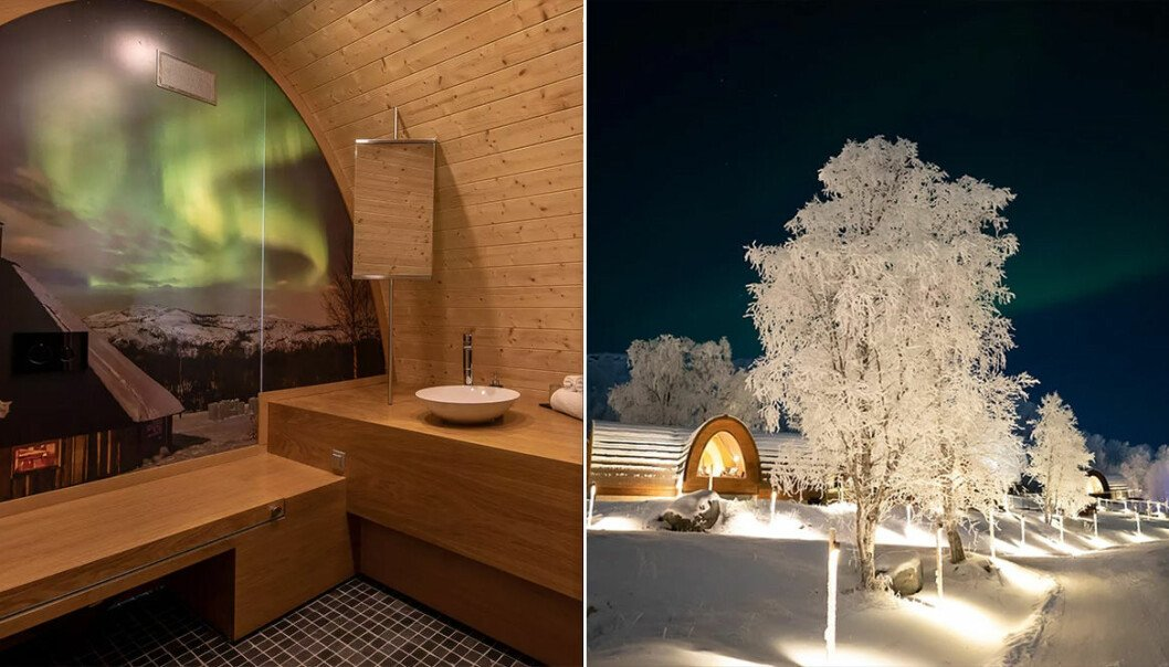 Mysigt badrum och vinterlandskap