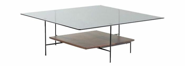 soffbord glas och valnöt