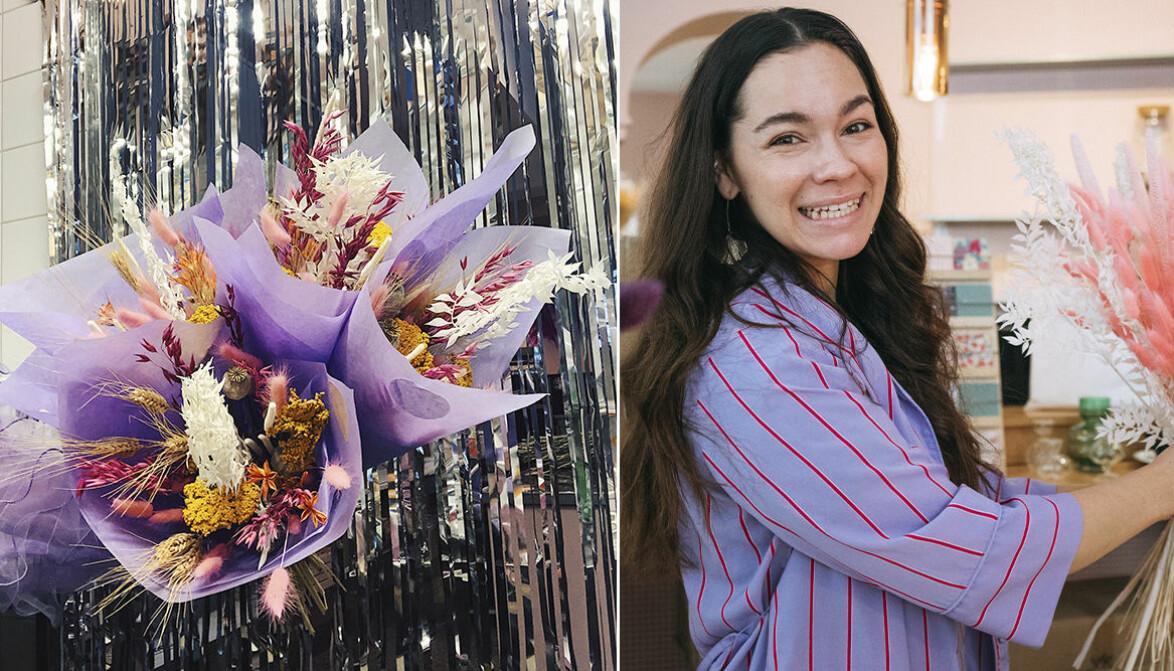 Sofia Bekken håller i blombukett och ler mot kameran.