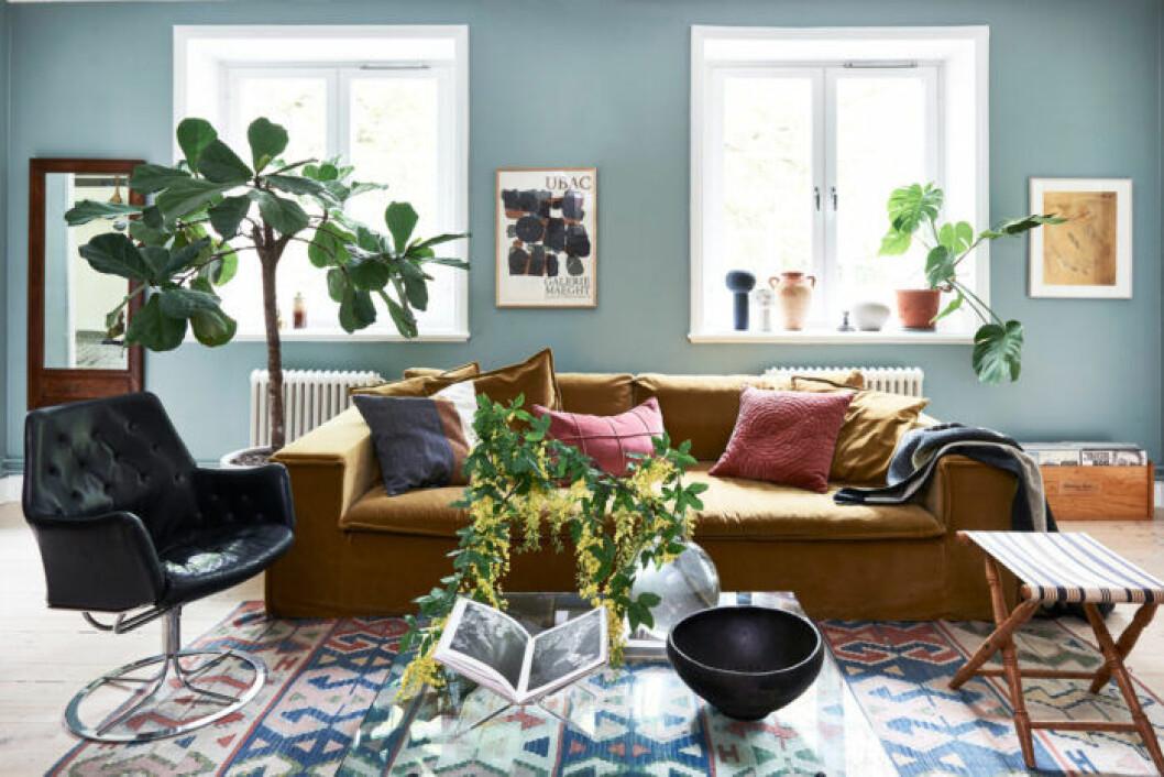 Maxat vardagsrum med ljusblåa väggar och färgstarka möbler