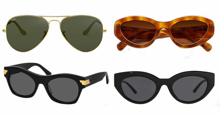 plock med pilotsolglasögon från rayban, bruna solglasögon från chimi, svarta solglasögon från bottega veneta och svarta solglasögon från corlin eyewear.