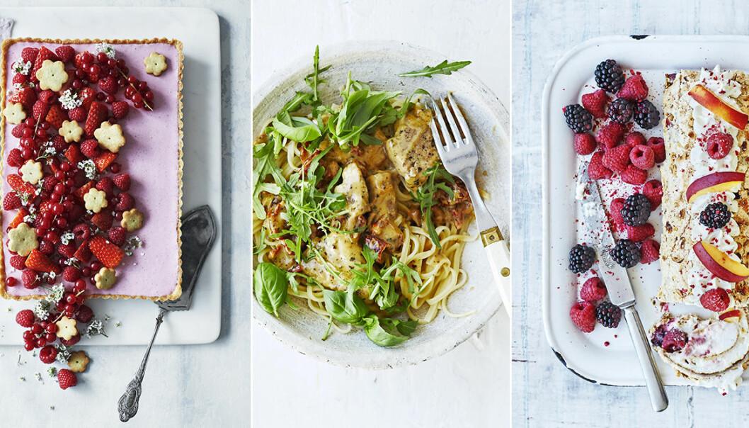 recept sommarmat kyckling, cheesecake, pavlova