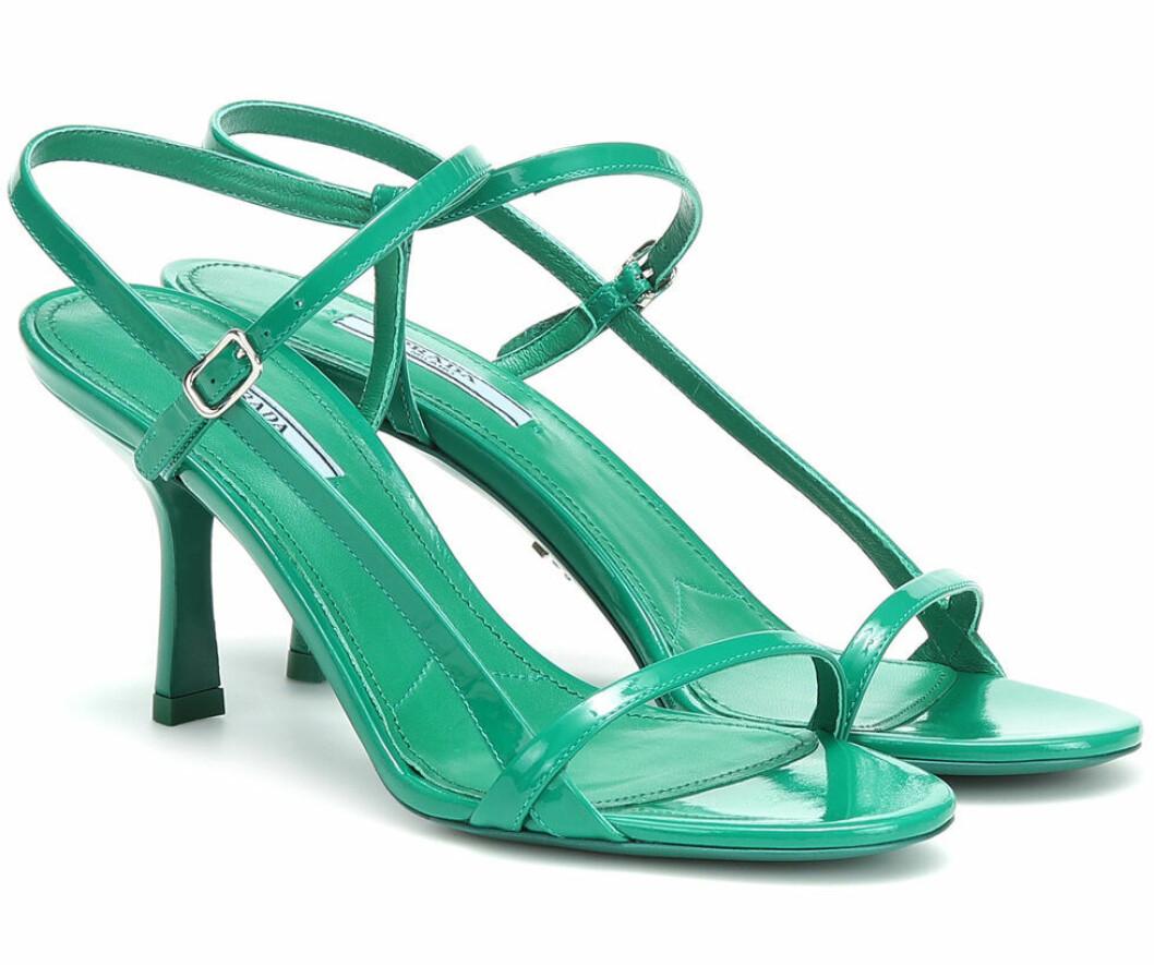 Prada jadegröna strappy sandaler