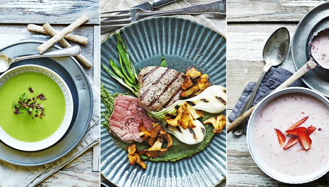 recept soppa, grillat kött, jordgubbsmousse