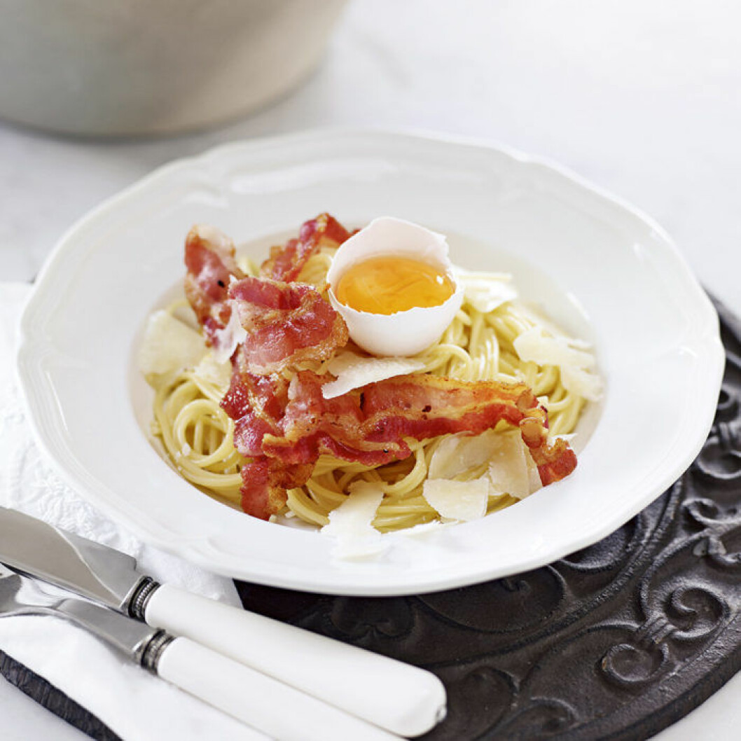 Klassisk spagetti carbonara.