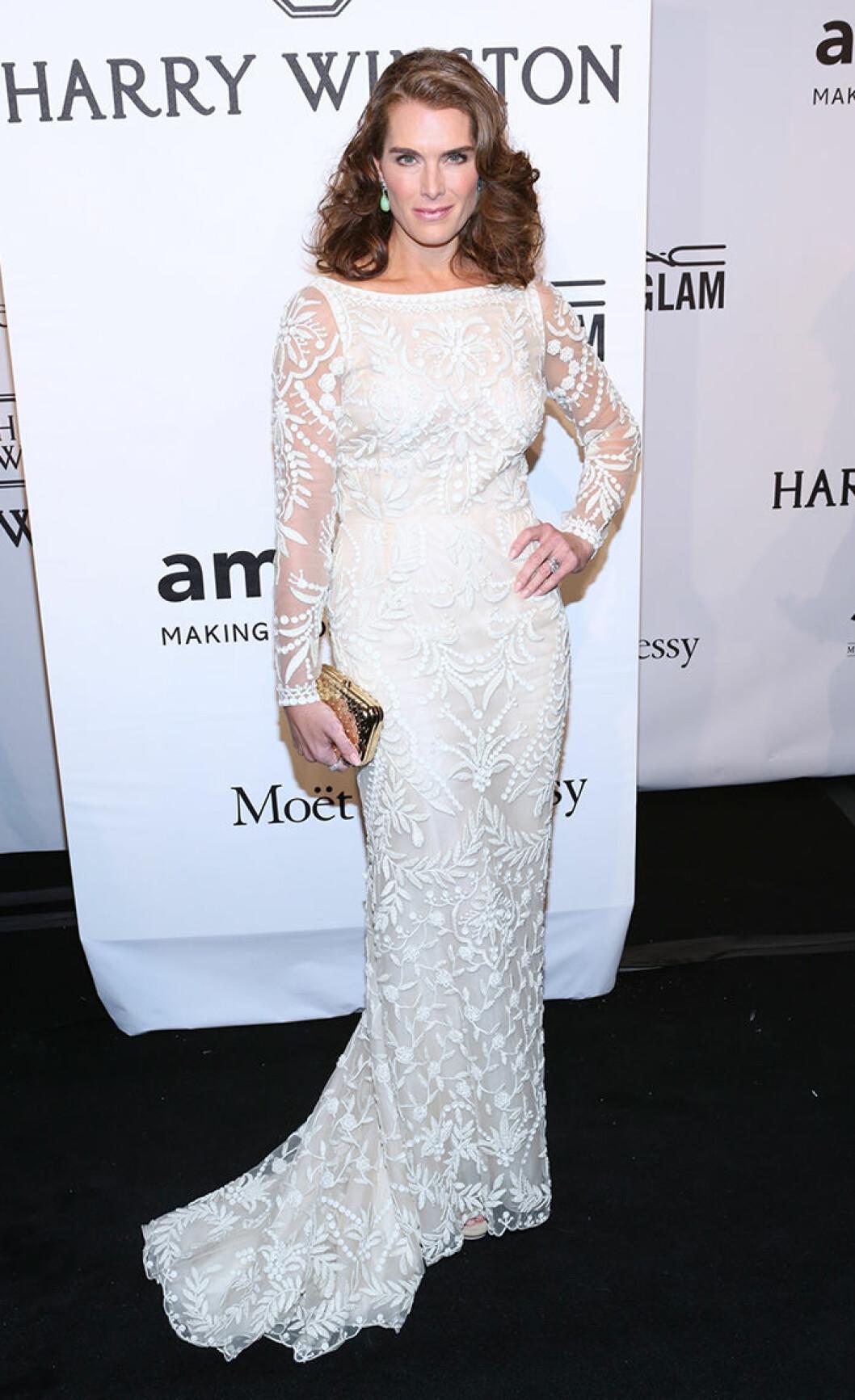 Brooke Shields seen attending the 2015 amfAR New York Gala at Cipriani Wall Street