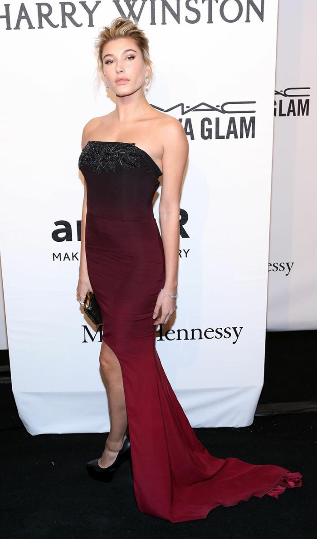 Hailey Baldwin seen attending the 2015 amfAR New York Gala at Cipriani Wall Street