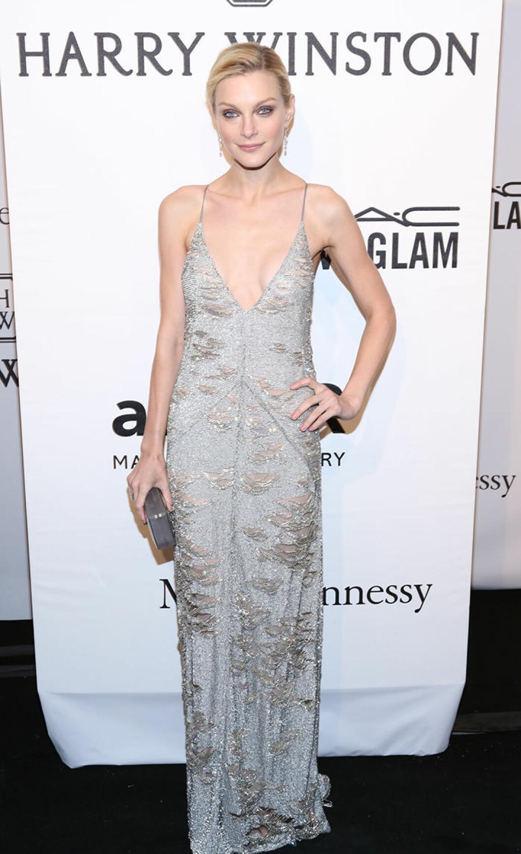 Jessica Stam seen attending the 2015 amfAR New York Gala at Cipriani Wall Street