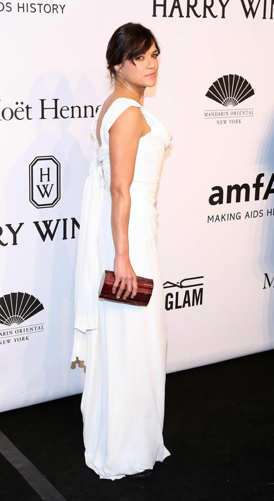 Michelle Rodriguez seen attending the 2015 amfAR New York Gala at Cipriani Wall Street