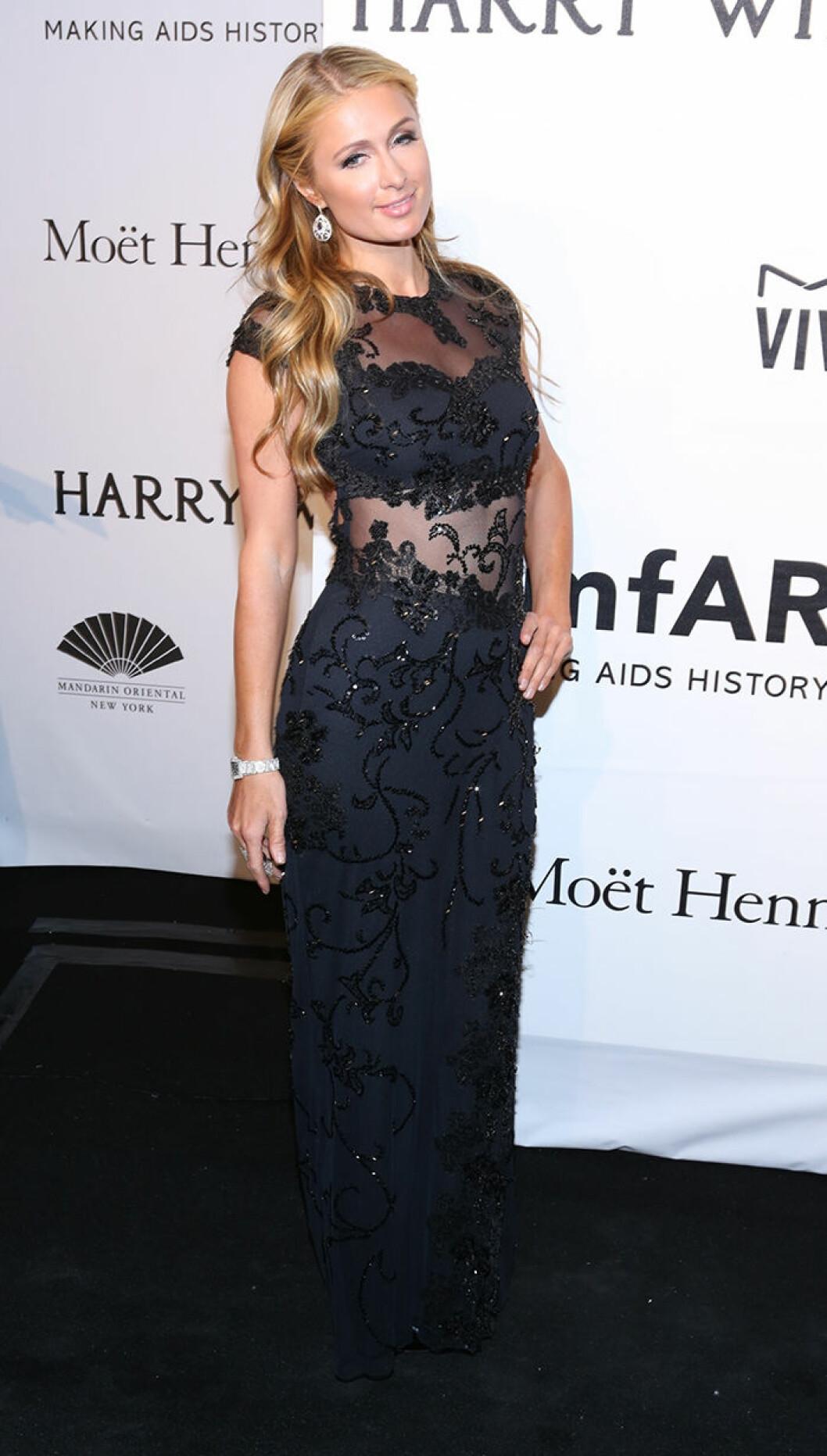 Paris Hilton seen attending the 2015 amfAR New York Gala at Cipriani Wall Street