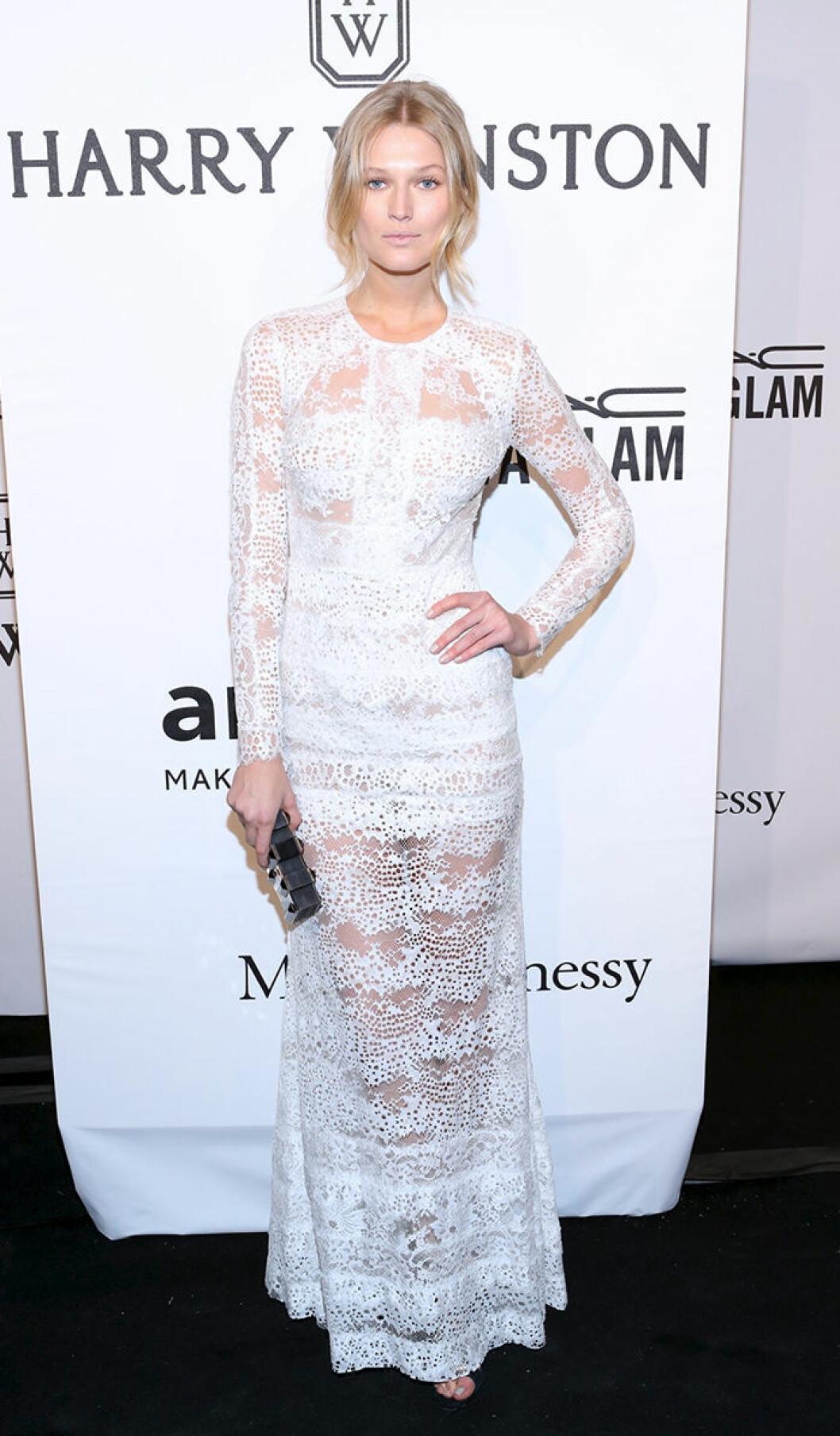 Toni Garrn seen attending the 2015 amfAR New York Gala at Cipriani Wall Street