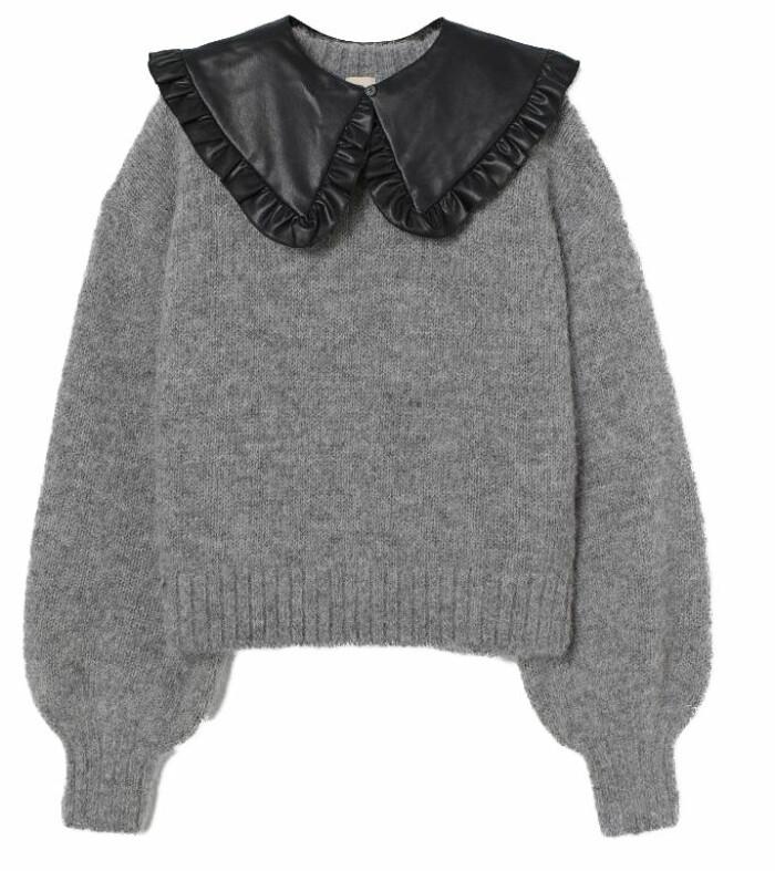 Stickad grå tröja med svart krage i läderimitation från H&M