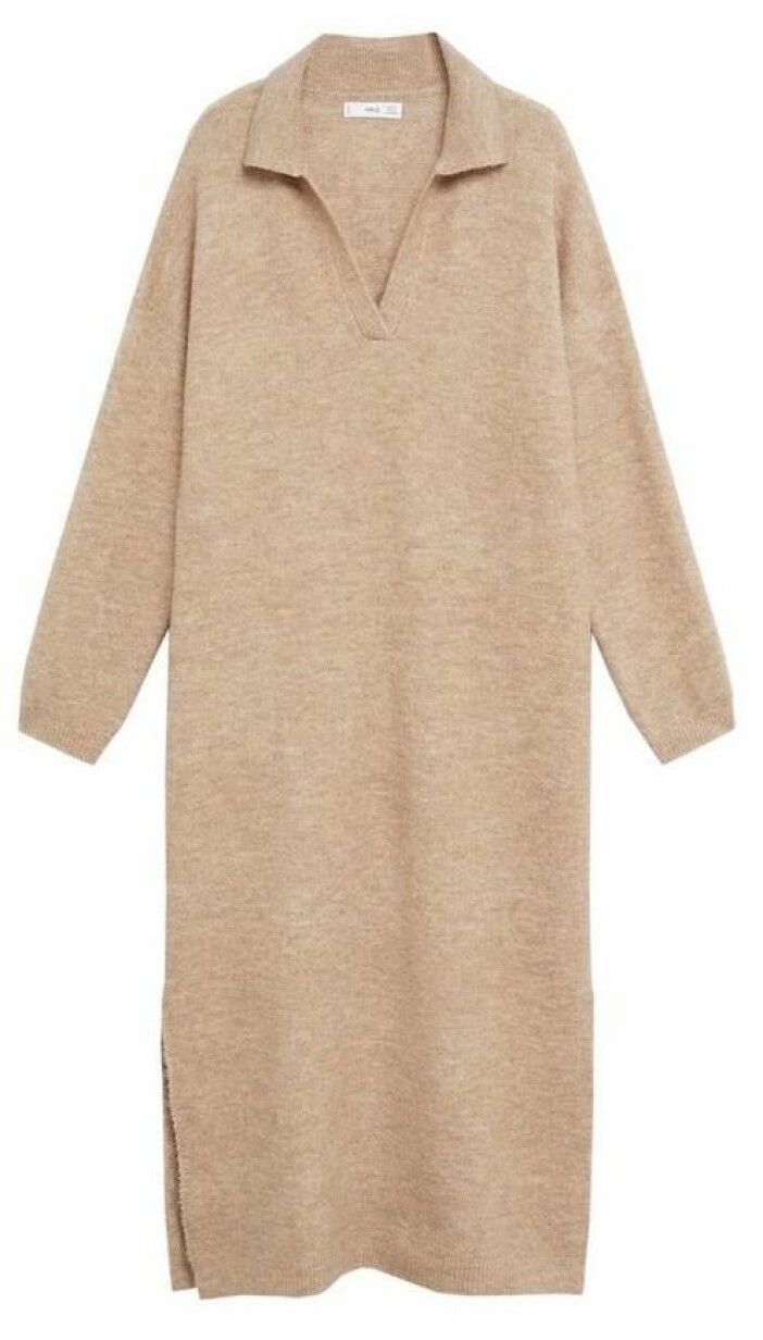 Stickad klänning med krage från Mango.
