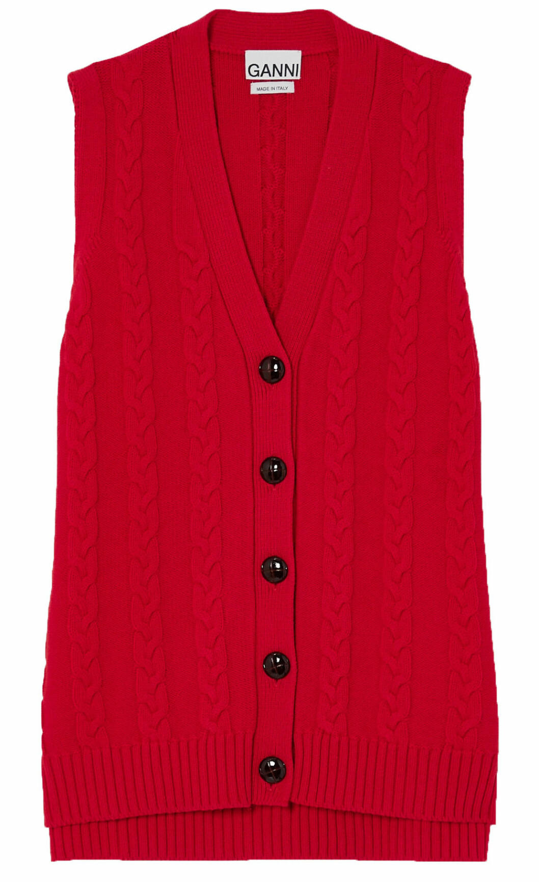 Röd väst med knappar från Ganni.