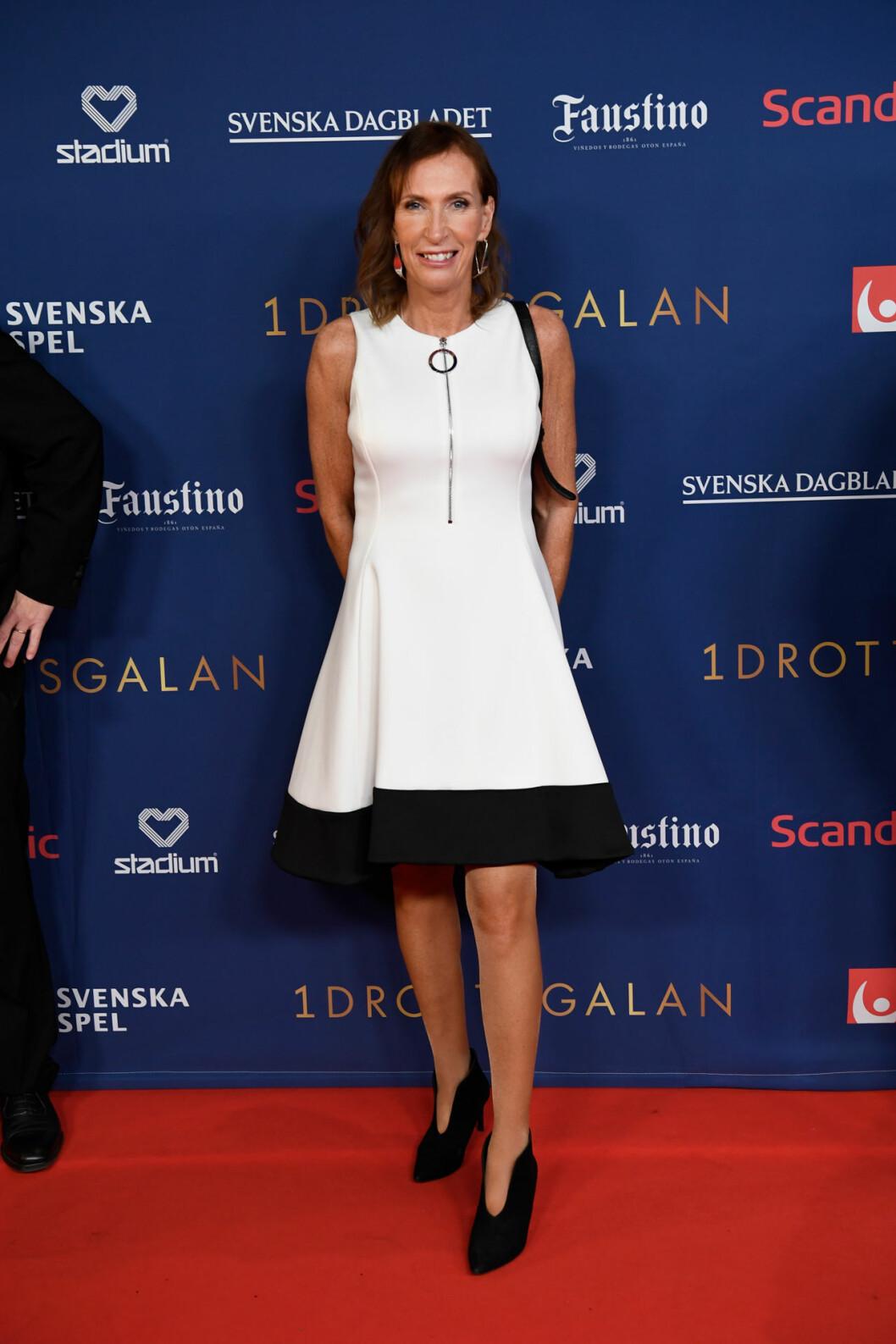 Susanne Gunnarsson på röda mattan på Idrottsgalan 2020