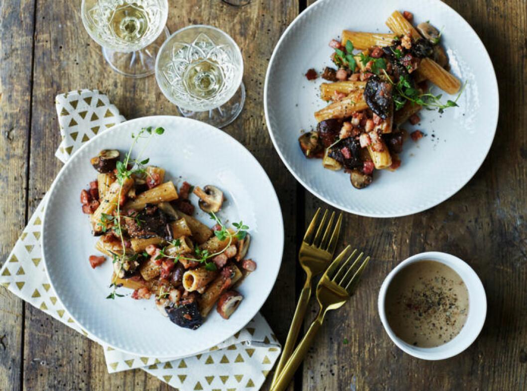 Recept på lättlagad svamppasta med gräddsås