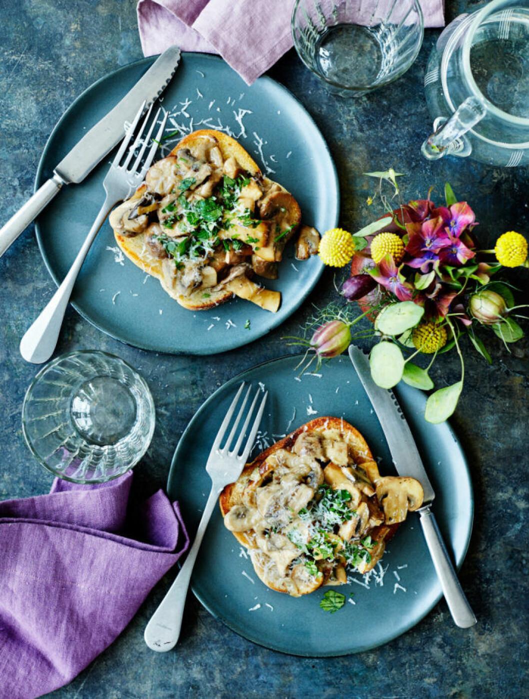 Recept på svamptoast med portvin och parmesanost