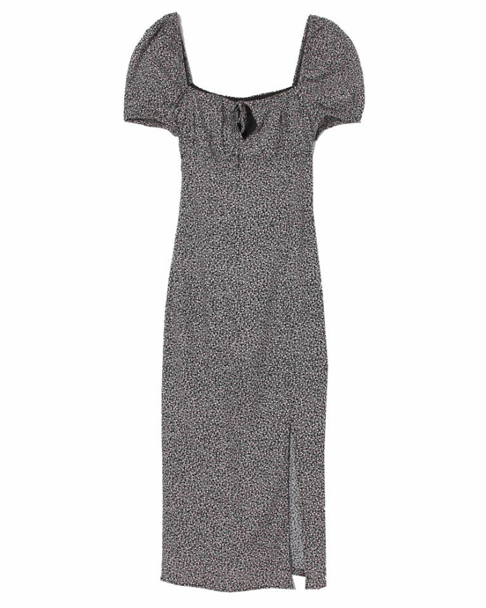 blommig klänning med slits