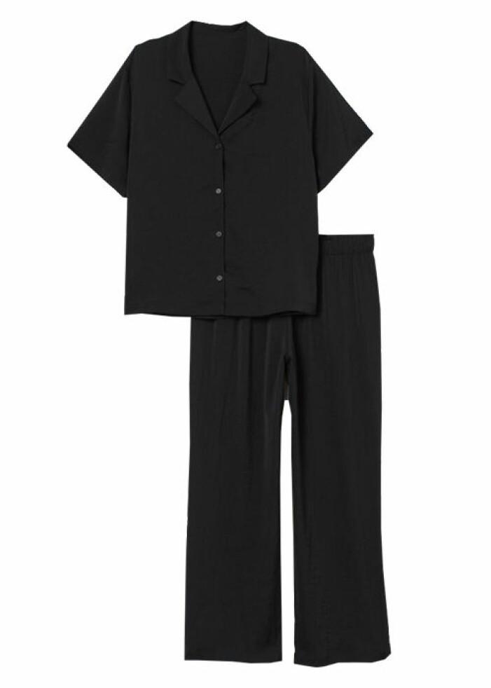 svart satinpyjamas från hm