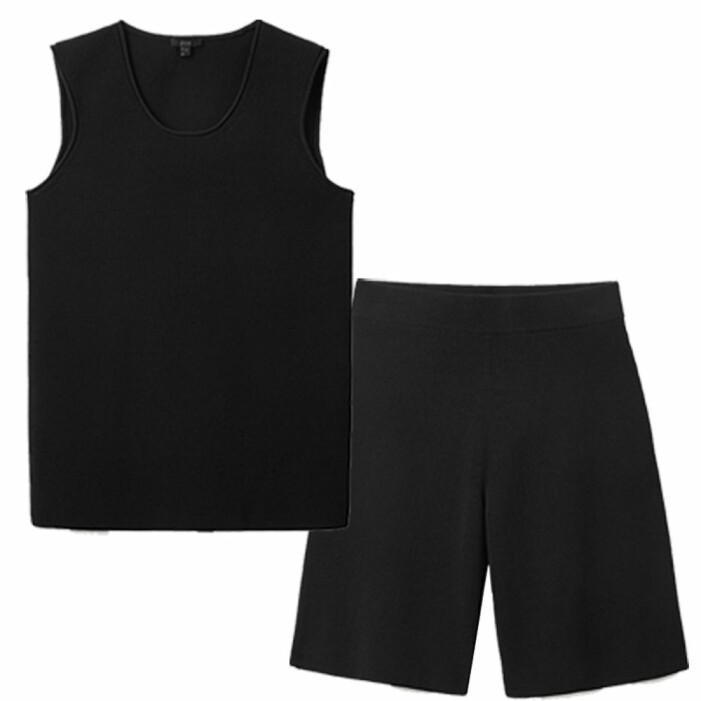 set med svart stickad väst och svarta stickade shorts