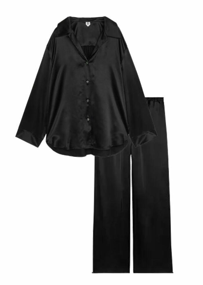 svart silkespyjamas till dam
