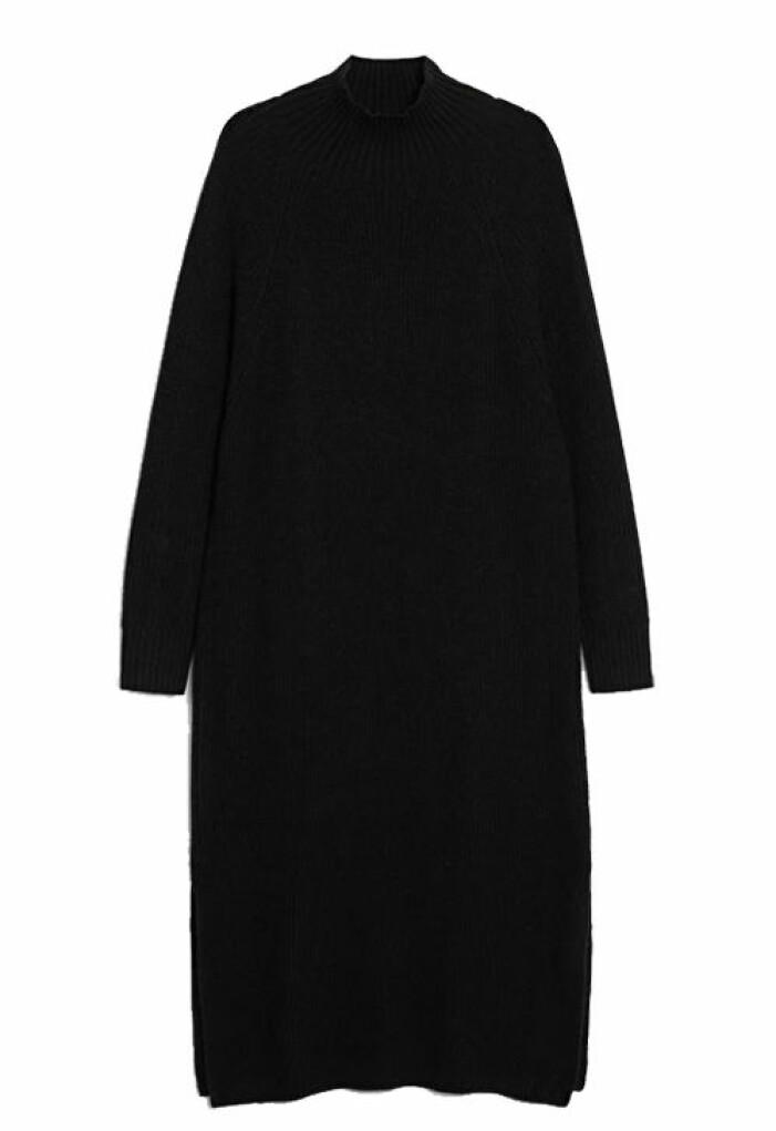 svart stickad klänning lång dam