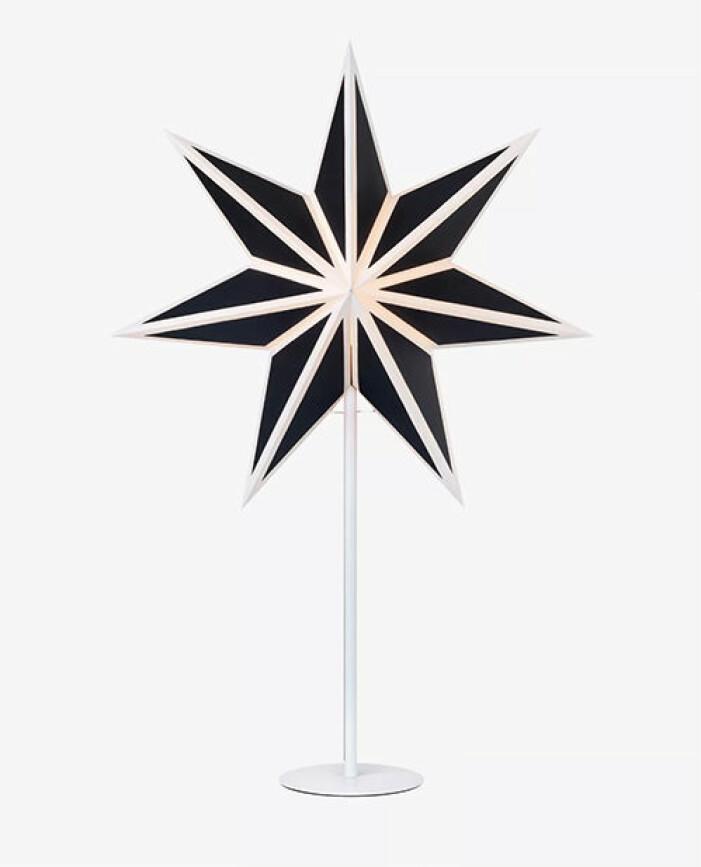 svart vit julstjärna på fot från markslöjd