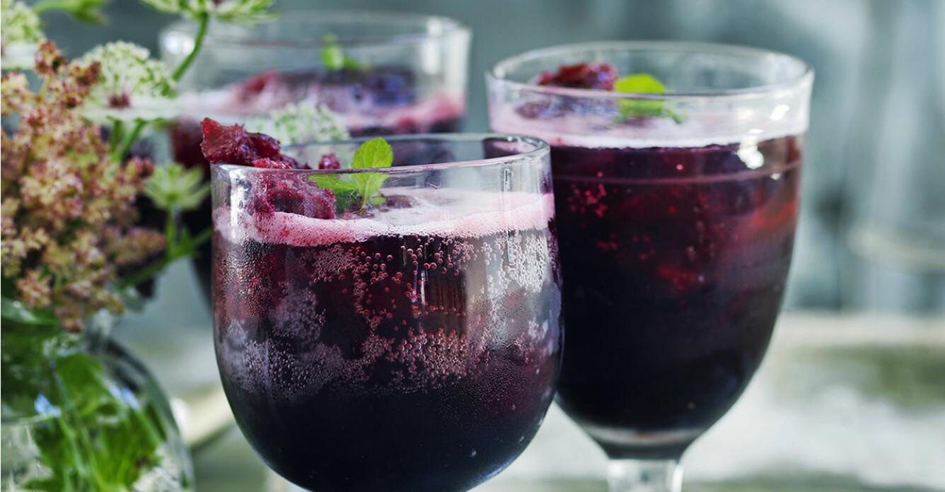 Recept på svartvinbärsgranita med mynta och bubbel