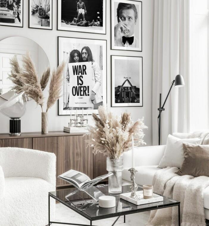 svartvit tavelvägg från poster store