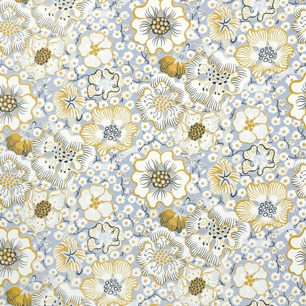 Blommiga tapeter i gult och blått
