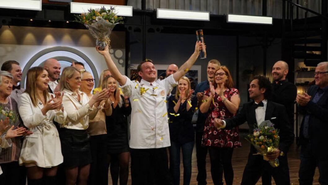 Gabriel Jonsson och resten av deltagarna i Sveriges Mästerkock 2019.