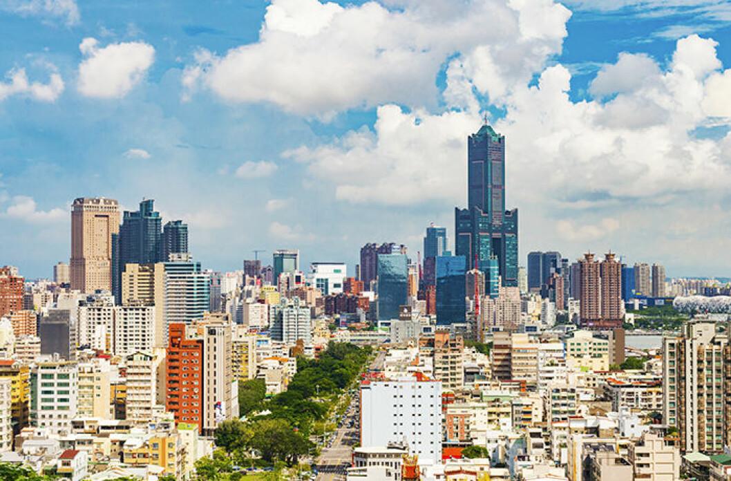 Utsikt över Kaohsiung, Taiwan
