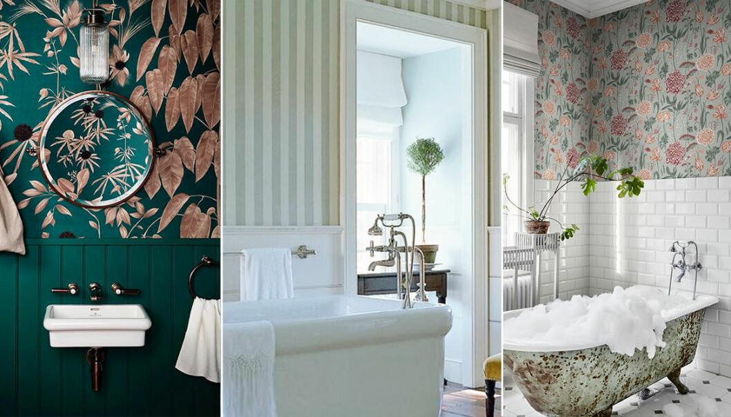 Tre olika badrum med tapet