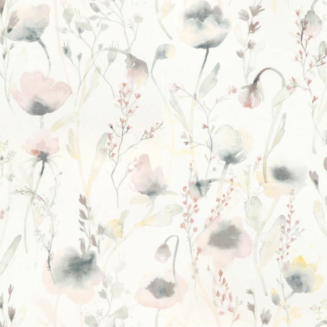 Blommig tapet med vit bas från Sandberg