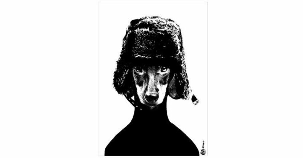 Tavla med hundmotiv av Lisa Bengtsson