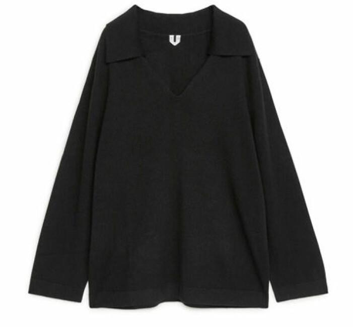 svart stickad tröja krage