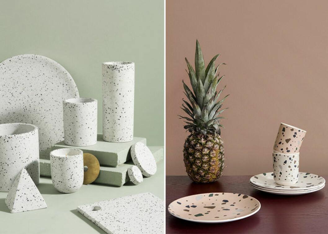 Låt porslinet inspireras av terrazzomönstret