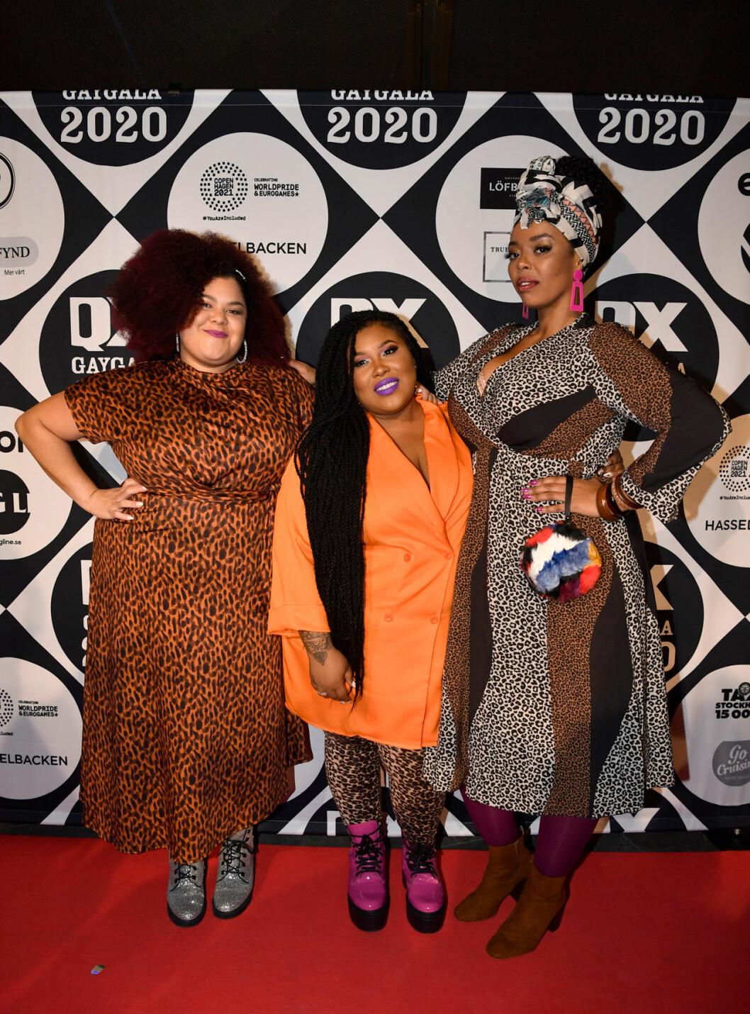 The Mamas - Loulou Lamotte, Ashley Haynes och Dinah Yonas på röda mattan på QX-galan 2020