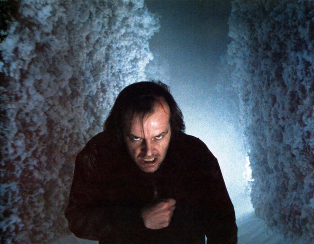 En bild från skräckfilmen The Shining med Jack Nicholson.