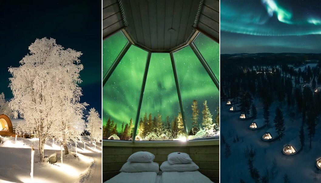 Vackra vintriga landskap med norrsken och glasigloos