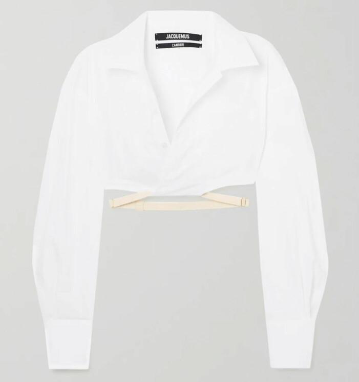 vit blus med knytning från jacquemus