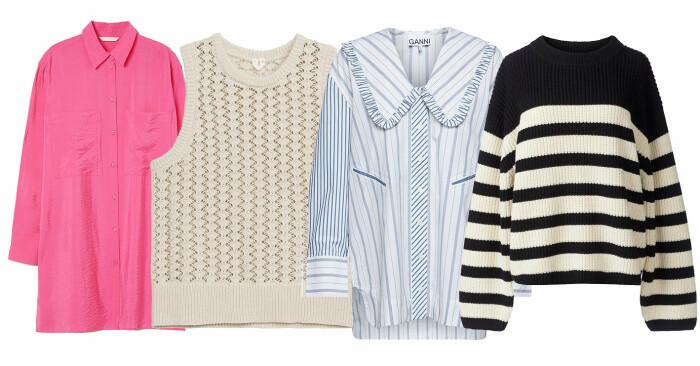 Plock med rosa skjorta från H&M, beige väst från Arket, blårandig skjorta från Ganni och stickad tröja från stylein.