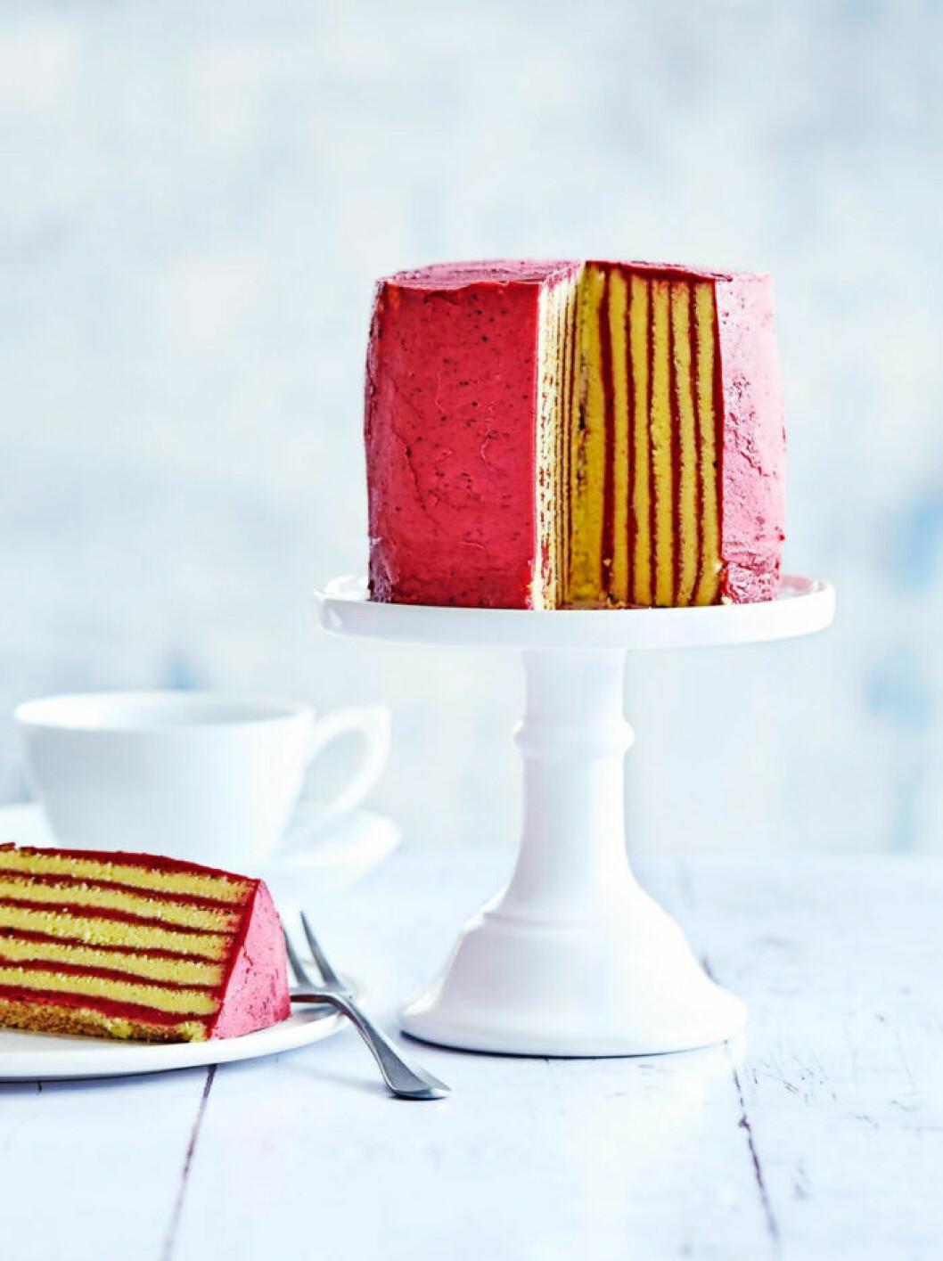Ståtliga och färgstarka lager på lager tårtor