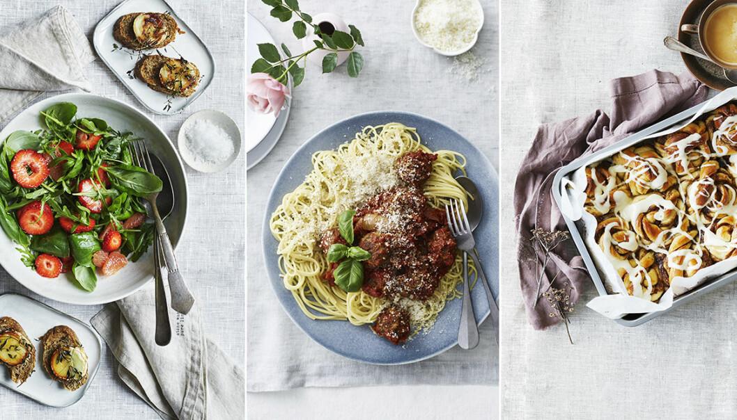 Sommarrecept jordgubbar, pasta, kanelbullar.