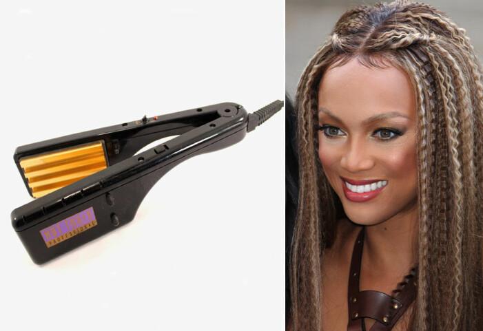 en våffeltång och en bild på Tyra Banks